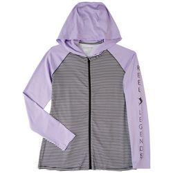 Reel Legends Womens Zip-up Hooded Long Sleeve Top