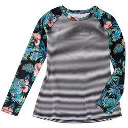 Reel Legends Womens Reel-Tec Mini Stripes & Floral Top