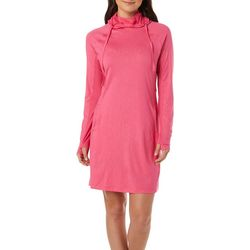 Womens Keep It Cool Hooded Palm Deboss Dress
