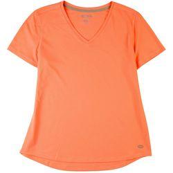 Reel Legends Womens Freeline Solid V-Neck Short Sleeve