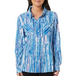 Reel Legends Womens Adventure Glowing Lines Button Down Top