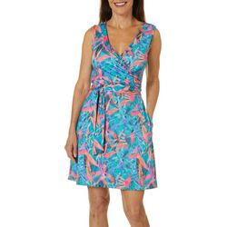 Womens Keep It Cool Colorful Palms Dress