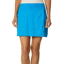 Womens Keep It Cool Coral Fan Faux Wrap Skort