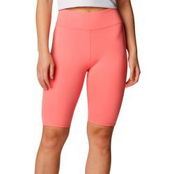 Womens Solid High Waisted Biker Shorts