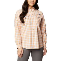 Columbia Womens Super Bahama Juice Plaid Long Sleeve Shirt
