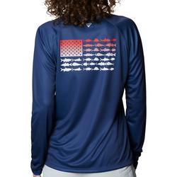Womens American Flag Long Sleeve Top