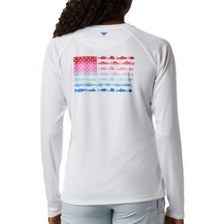 Columbia Womens PFG Tidal Flag Graphic Long Sleeve Shirt