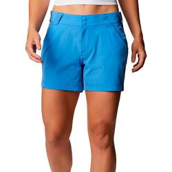 Womens Solid Button Closure Shorts