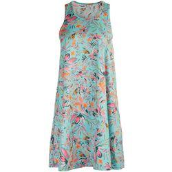 5 Fin Womens Tropical Print Sleevless Dress