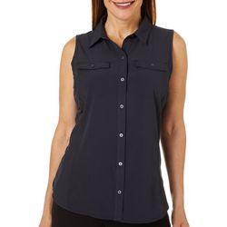 HI-TEC Womens Solid Button Down Sleeveless Top
