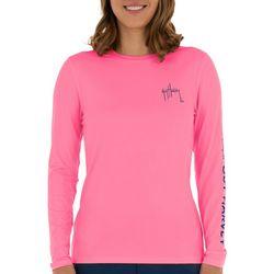 Guy Harvey Womens Solid Logo Long Sleeve Top