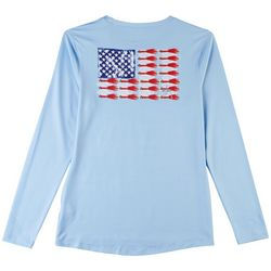 Guy Harvey Womens American Flag Long Sleeve Top