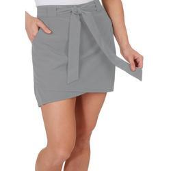 Womens Belted Woven Skort