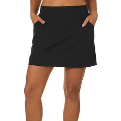 Reel Legends Womens Solid A-Line Pull On Skort