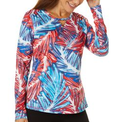 Reel Legends Womens Freeline Sketched Palm Shimmer Top
