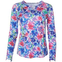 Reel Legends Womens Freeline Watercolor Floral Keyhole Top