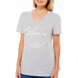 Reel Legends Womens Sketched Tropical Beach T-Shirt