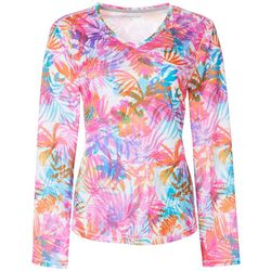 Reel Legends Womens Freeline Colorful Palms Shimmer Top