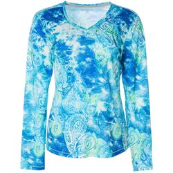 Reel Legends Womens Freeline Paisley Tie Dye Shimmer Top