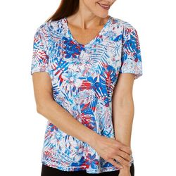 Reel Legends Womens Freeline Tropical Palms Shimmer Top
