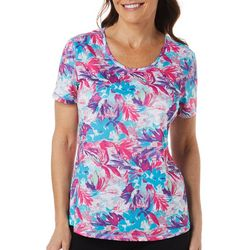 Reel Legends Womens Freeline Graphic Floral Scoop Neck Top