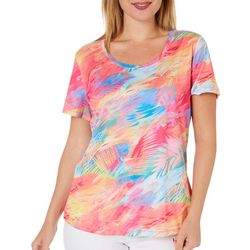 Reel Legends Womens Freeline Colorful Palms Top