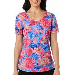Reel Legends Womens Freeline Hyper Floral Shimmer Top
