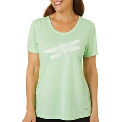 Reel Legends Womens Dragonfly Graphic Print T-Shirt