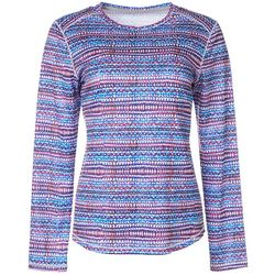Reel Legends Womens Freeline Geo Stripe Shimmer Top