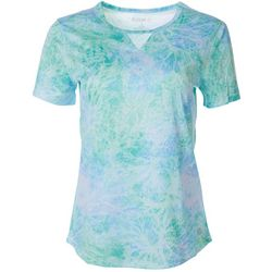 Reel Legends Womens Freeline Coral Print Keyhole Top
