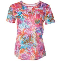 Reel Legends Womens Freeline Colorful Palms Keyhole Top