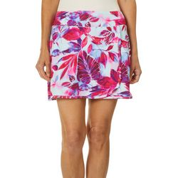 Womens Keep It Cool Painterly Leaves Wrap Skirt