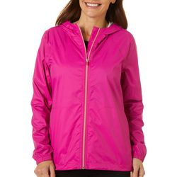 Womens Solid Waterproof Windbreaker Jacket