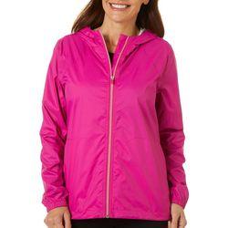 Womens Solid Waterproof Windbreaker Jacket