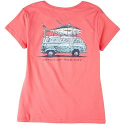 Southern Lure Womens Fish on Bus Print Short Sleeve