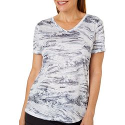 Reel Legends Womens Wave After Wave Print Burnout T-Shirt