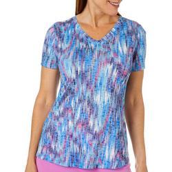 Womens Blurred Streaks Print Burnout T-Shirt