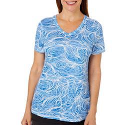Womens Graphic Wave Print Burnout T-Shirt