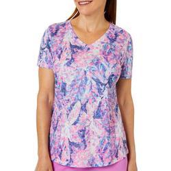 Womens Leafy Promise Print Burnout T-Shirt