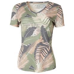 Womens Palm Leaf Print Ribbed V-Neck Top