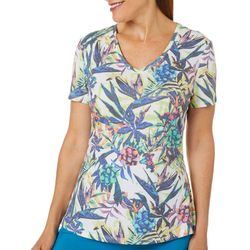 Reel Legends Womens In The Tropic Ribbed V-Neck Top