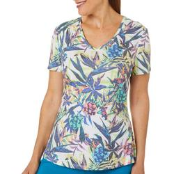 Womens In The Tropic Ribbed V-Neck Top
