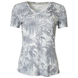 Reel Legends Womens Palm Leaf Ribbed V-Neck Top
