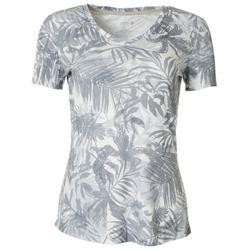 Womens Palm Leaf Ribbed V-Neck Top