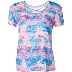 Reel Legends Womens Reel-Tec Watercolor Lattice Neck Top
