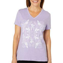 Reel Legends Womens Floral Palm T-Shirt