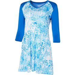 Reel Legends Womens Keep It Cool Bubble Print Raglan Dress