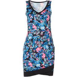 Womens Keep It Cool Palm Wrap Hem Dress