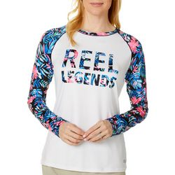 Reel Legends Womens Keep It Cool Hibiscus Logo Swim Top