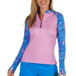 Womens Performance Fishing Zip-Up Neck Solid Top